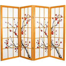 "48"" Japanese Cherry Blossom (Honey Finish) :: 48"" Short Shoji Screens"