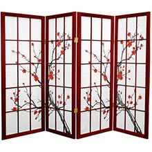 "48"" Japanese Cherry Blossom (Rosewood Finish) :: 48"" Short Shoji Screens"