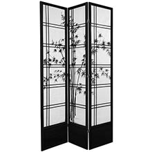 "84"" Bamboo Sunrise Shoji Screen (Black Finish) :: 84"" Tall Shoji Screens"