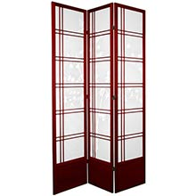 "84"" Bamboo Sunrise Shoji Screen (Rosewood Finish) :: 84"" Tall Shoji Screens"