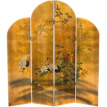 Golden Cranes Shoji Screen :: Traditional Shoji Screens