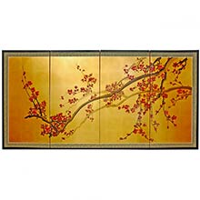 Asian Plum Tree :: Chinese Silk Paintings