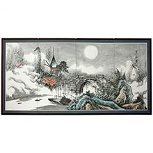 Full Moon Bridge :: Japanese Silk Paintings
