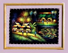 Framed Village on Velvet :: Oriental Paintings