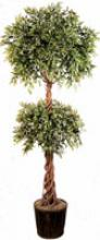 6 foot Double Ball Ruscus Topiary Tree :: Artificial House Plants