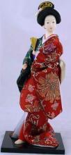 Japanese Geisha Doll with Hand Fan :: Japanese Geisha Dolls