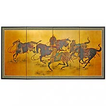 Chinese Stallions :: Chinese Silk Paintings
