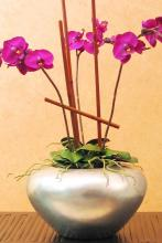 "7"" Silver Leaf Orchid Vase :: Wooden Table Vases"