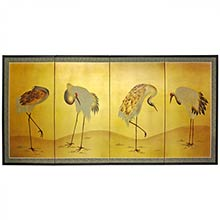Gold Leaf Cranes :: Chinese Silk Paintings