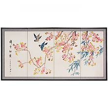 Blue Birds and Pink Blossoms :: Japanese Silk Paintings