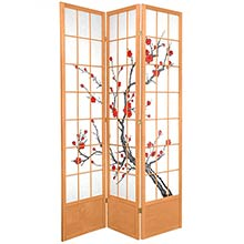 "84"" Japanese Cherry Blossom Screen (Natural Finish) :: 84"" Tall Shoji Screens"