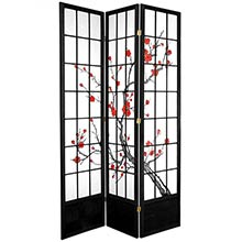 "84"" Japanese Cherry Blossom Screen (Black Finish) :: 84"" Tall Shoji Screens"
