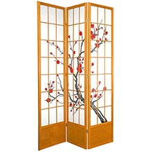 "84"" Japanese Cherry Blossom Screen (Honey Finish) :: 84"" Tall Shoji Screens"