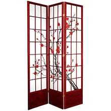 "84"" Japanese Cherry Blossom Screen (Rosewood Finish) :: 84"" Tall Shoji Screens"