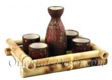 Brown Earth Sake Set :: One of a Kind Specials