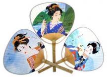 3 Pack - Japanese Geisha Paddle Fan Set :: geisha fans