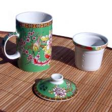Flowers and Birds Mug - With Tea Strainer :: Asian Cups and Bowls