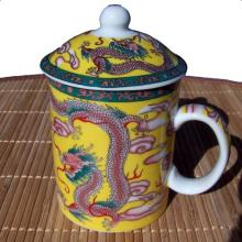 Dragon and Phoenix Cup with Lid :: Asian Cups and Bowls
