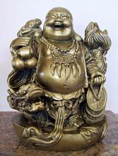 Laughing Buddha and Protective Dragon :: Buddhist Statues
