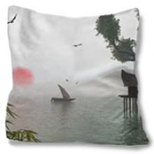 Still Water Throw Pillow :: Asian Pillows