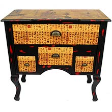 Calligraphy Low Boy Coffer Cabinet :: Asian Style Furniture