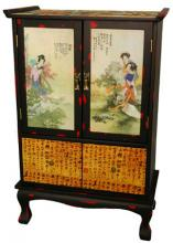 Beauty in the Garden Two-Door Cabinet :: Asian Style Furniture