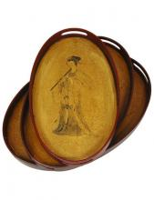 Lady Playing Flute Tray Set (Set of Three) :: Oriental Serving Trays