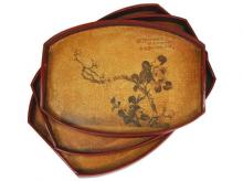 Branch of Life Tray Set (Set of Three) :: Oriental Serving Trays