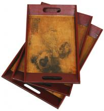 Bird on a Wire Tray Set (Set of Three) :: Oriental Serving Trays