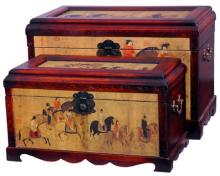 Chinese Warriors Storage Boxes (Set of Two) :: Oriental Boxes and Trunks