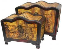Scenic Home Wave Top Storage Boxes (Set of Two) :: Oriental Boxes and Trunks