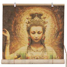 Black Kwan Yin with Lotus Bamboo Blinds :: Window Blinds