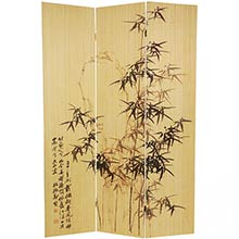Frameless Black Bamboo Design Screen :: Double Sided Shoji Screens