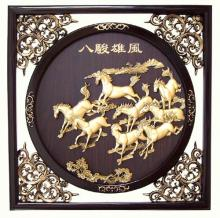 "22.5"" Galloping Chinese Stallions :: Wall Carvings"