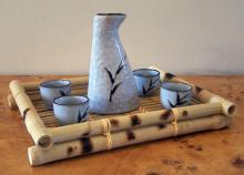 5 Piece Floral Contemporary Sake Set :: Sake Sets