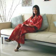 Red Calligraphy Kimono Robe :: Kimono Robes