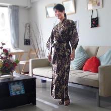 Brown Calligraphy Kimono Robe ::