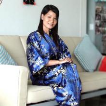 Blue Bamboo Kimono Robe ::