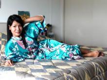Turquoise Peacock Kimono Robe ::