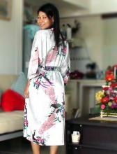 White Peacock Kimono Robe ::
