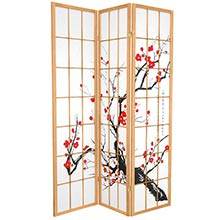 Japanese Cherry Blossom (Natural Finish) :: Japanese Shoji Screens
