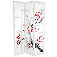 Japanese Cherry Blossom (White Finish) :: Japanese Shoji Screens