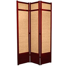 "84"" Jute Screen (Rosewood Finish) :: 84"" Tall Shoji Screens"