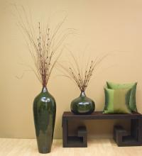 "24"" Bamboo Pod Floor Vase - Dark Emerald :: Bamboo Decor"