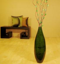 "24"" Teardrop Floor Vase - Dark Emerald :: Bamboo Decor"