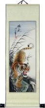 """27"""" Descending Tiger :: Chinese Scroll Paintings"""
