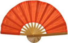 Orange Bamboo Hand Fan ::