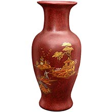 Red Fishtail Vase ::