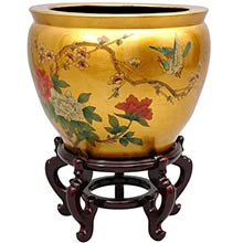 "14"" Gold Leaf Birds and Flowers Fish Bowl :: Chinese Fish Bowls"