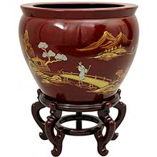 """16"""" Red Landscape Fish Bowl :: Chinese Fish Bowls"""